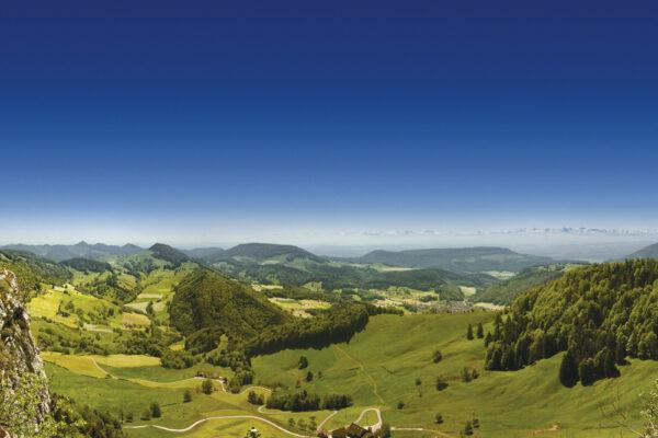 Aussicht vom Vogelberg über die Obere Wechten und Mümliswil, bis zu den Berner Alpen.